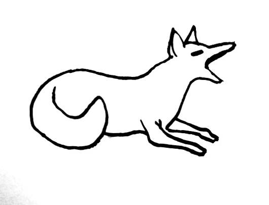 Yawning fox coloring picture