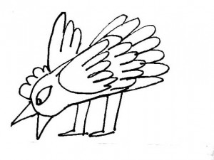 Cartoon bird coloring page