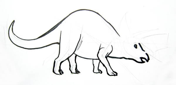 Step by step triceratops drawing 5