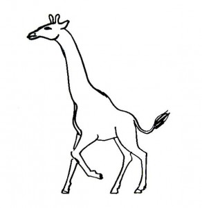 Running Giraffe coloring page