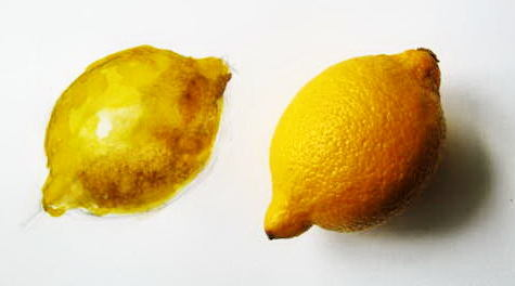 Step by step painting a lemon