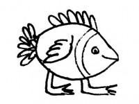 Funny flying fish coloring page
