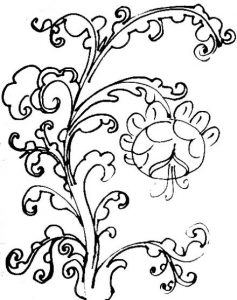 Floral ornament coloring page for kids