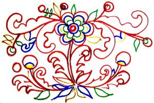 Floral ornament coloring page