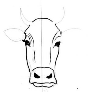 Cow face drawing step by step