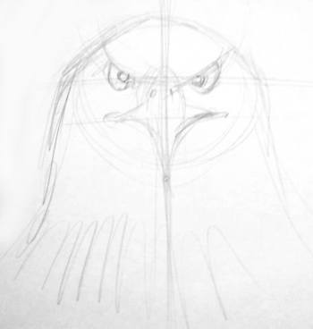 Eagle Head drawing - front view