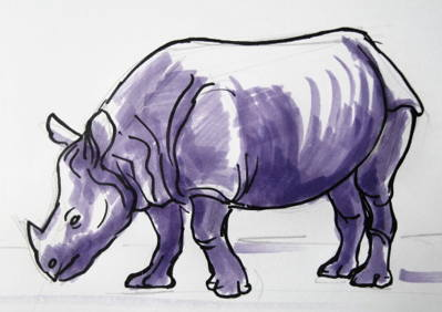 Indian Rhinoceros drawing