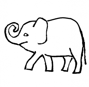 Cute cartoon elephants coloring page