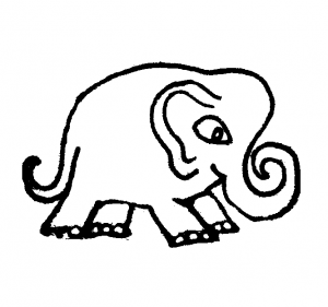 Cute cartoon elephants coloring page for kids