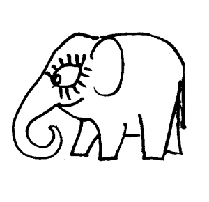 Cute cartoon elephants coloring page 49