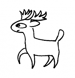 Cartoon deer coloring page