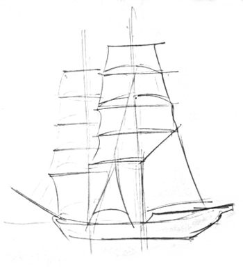 Sailboat drawing step by step