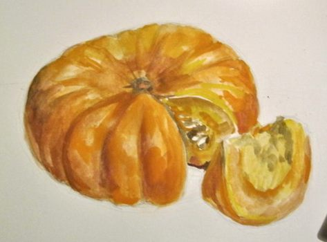 Pumpkin drawing lesson for kids