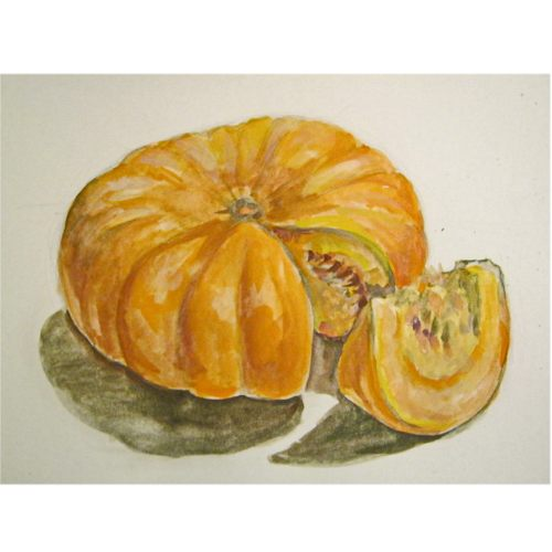 How to draw a pumpkin in watercolor