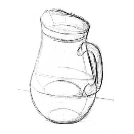 How to draw a jug from life