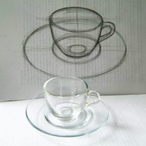 Cup and platter drawing from nature