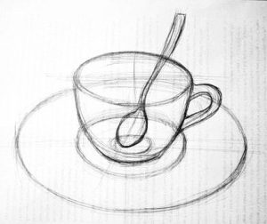 Drawing - a tea cup with a spoon on a saucer