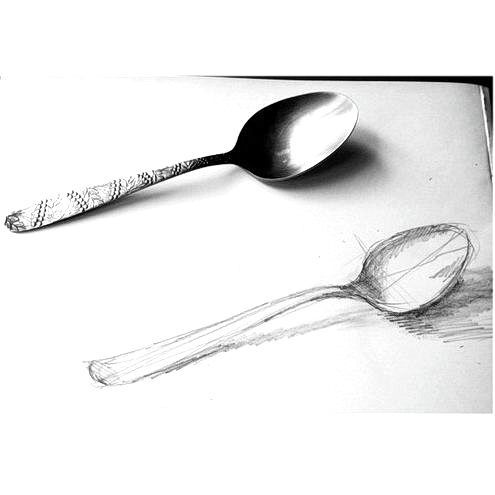 How to draw a spoon from nature for kids